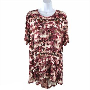 Logo by Lori Goldstein Printed Top with Chiffon Pl